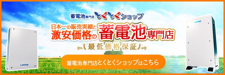 日本一の販売実績と激安価格!蓄電池専門店とくとくショップはこちら