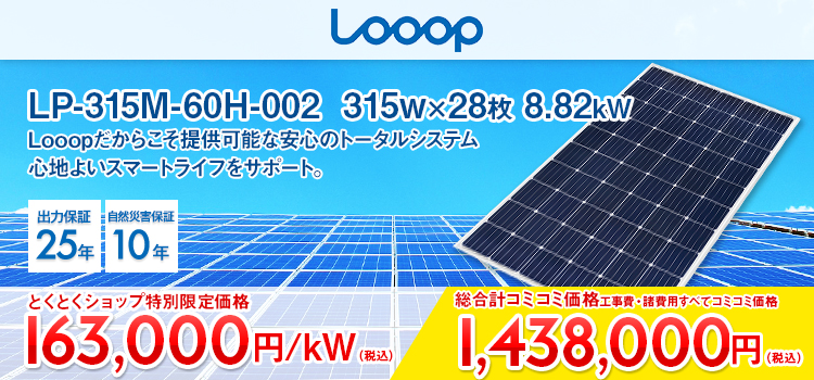 LP-315M-60H-002315w×28枚 8.82kWLooop